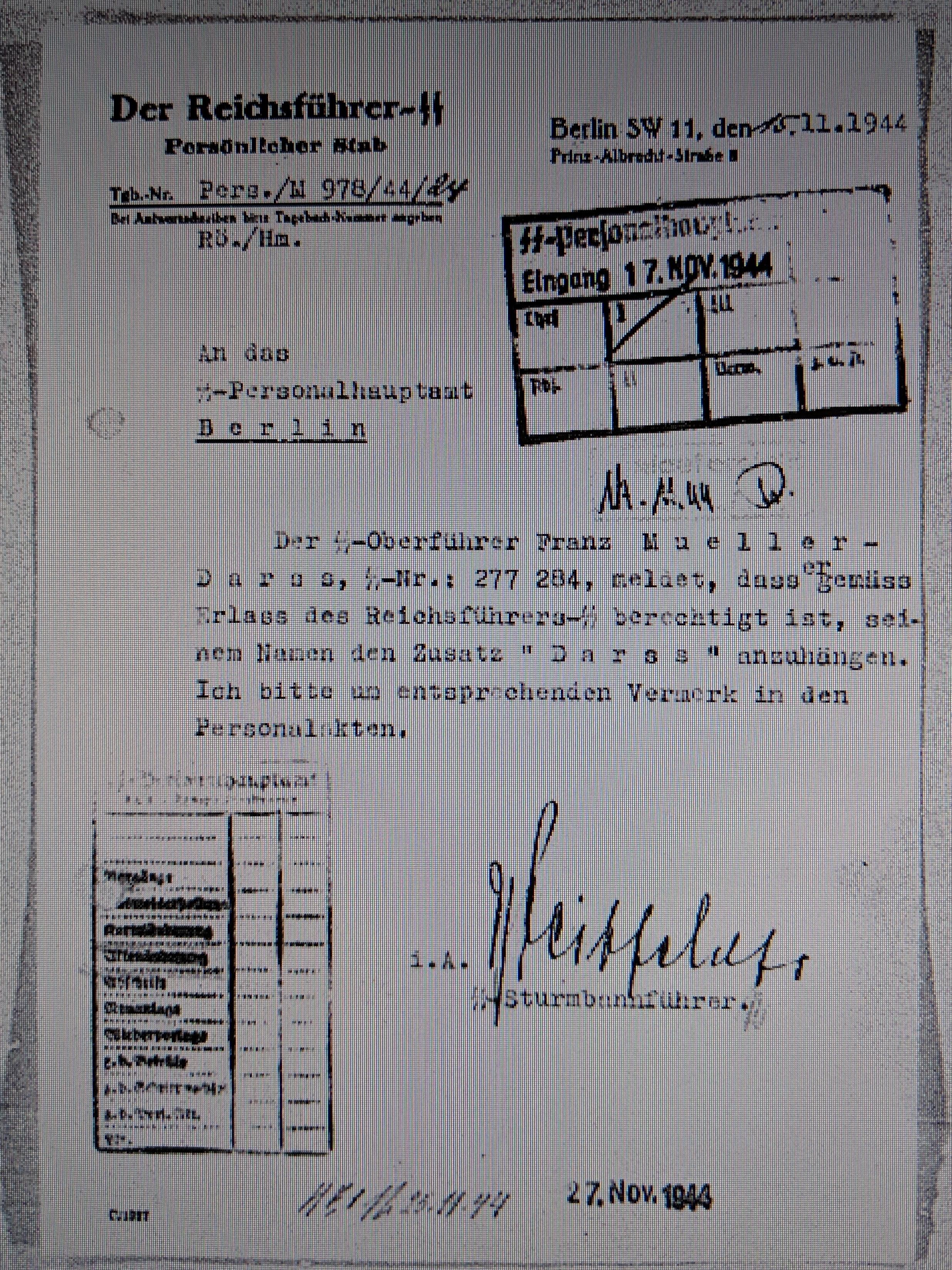 1944 4. 11. Mueller darf sich Mueller-Darss nennen.