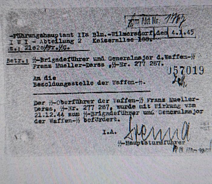 21.12.44 Beförderung SS-Brigadeführer und Generalmajor