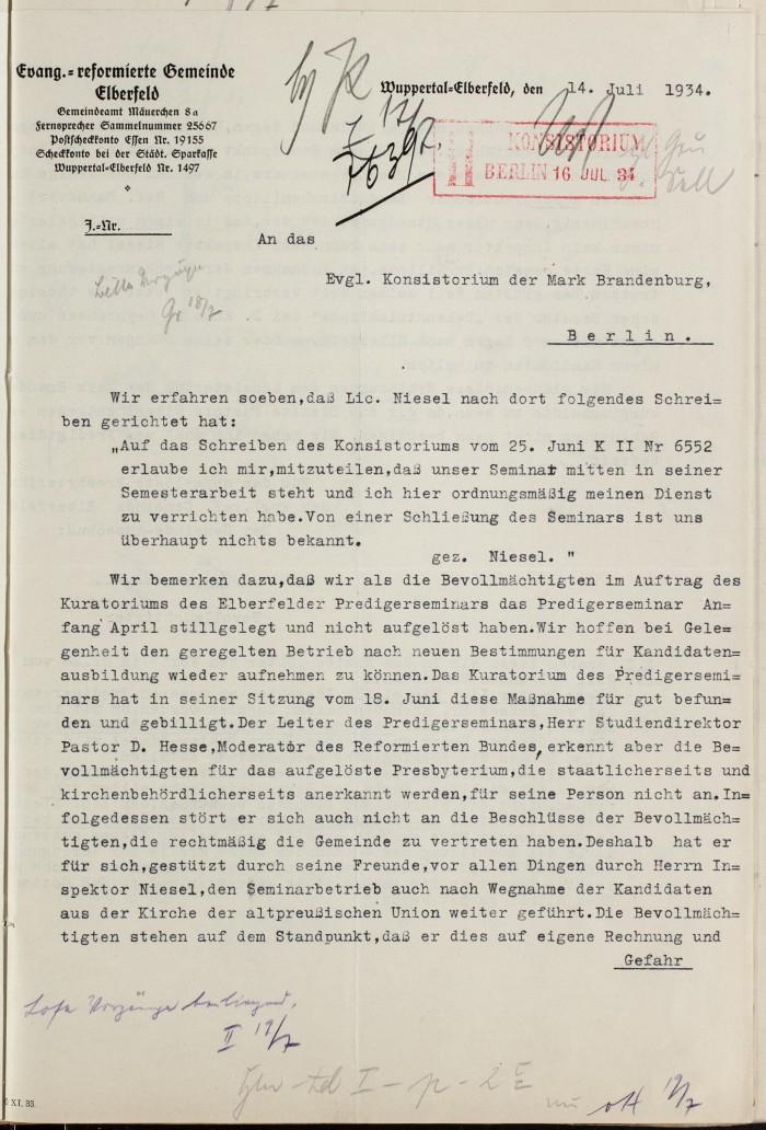 1934 14. Juli Elberfeld an Konsistorium gegen Niesel S. 1