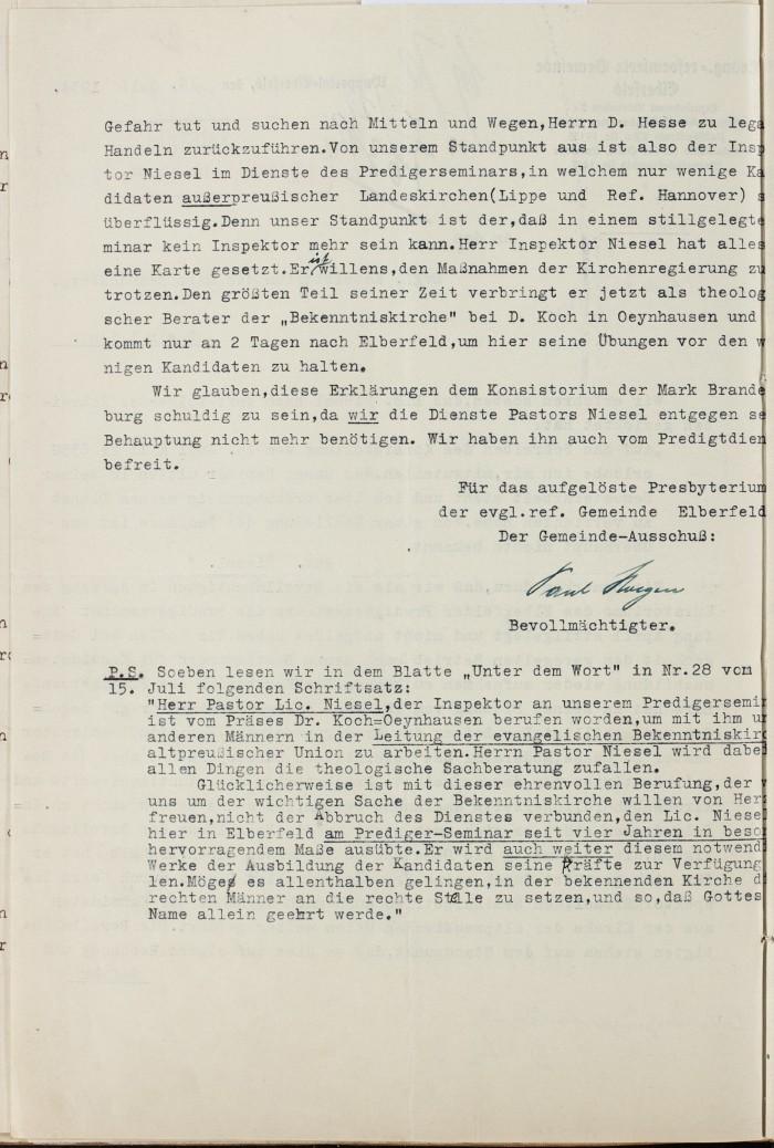 1934 14. Juli Elberfeld an Konsistorium gegen Niesel S. 2