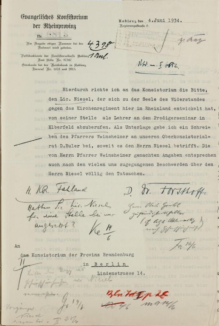 1934 4. Juni Konsistorium Rheinland an Kons Berlin wg. Niesel 1