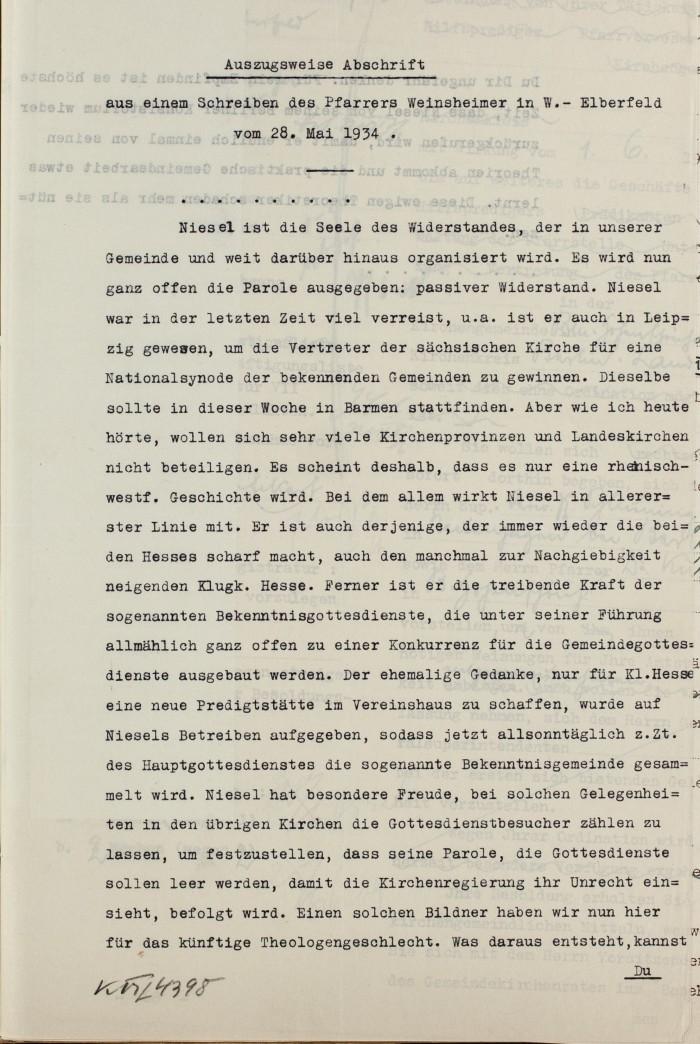 1934 4. Juni Konsistorium Rheinland an Kons Berlin wg. Niesel 2