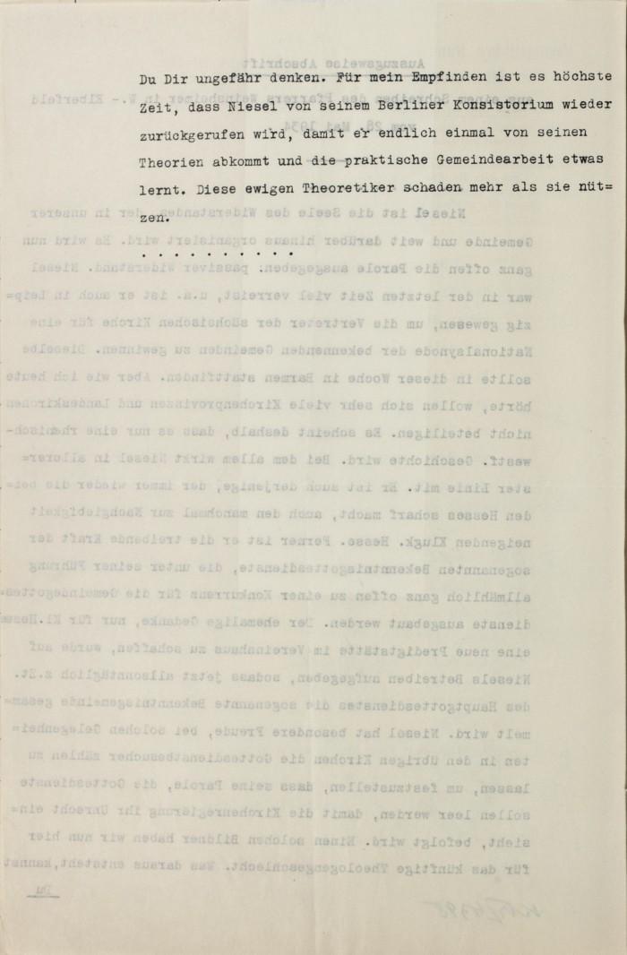 1934 4. Juni Konsistorium Rheinland an Kons Berlin wg. Niesel 3