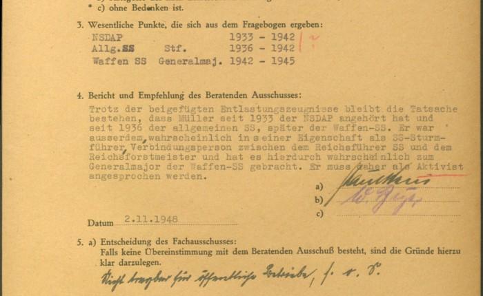 Entnazifizierungsakte 221-11 Z 10370 Staatsarchiv Hamburg. SS-Generalmajor FranzMueller-Darss